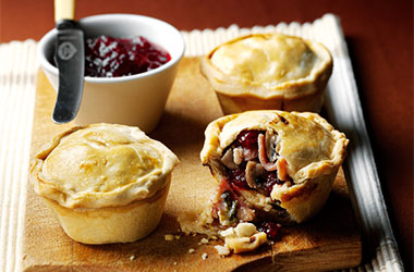 Cranberry, Cheese and Bacon Pies