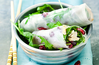 Summer Rolls with Cranberries, Chicken Fillet and Rocket